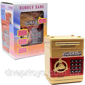 Іграшка скарбничка-сейф з кодом дитячий золотий, 13х13х19 см (MK 4523)