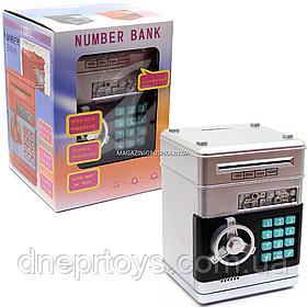 Игрушка копилка-сейф с кодом детский серый, 13х13х19 см (MK 4523)