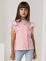 "Школьная розовая блуза c крылышками  для девочки ""Жасмин""  (122-164р)"