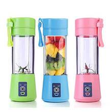 Портативный фитнес блендер USB Smart Juice Cup Fruits 4 ножа blue