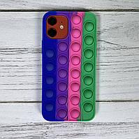 Попит чохол для телефону iPhone 12 Pro кейс для телефону pop it силіконовий антистрес з пупыркой case синій