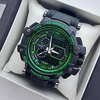 Мужские спортивные наручные часы Casio G-Shock GPW-1000 авиатор черные с зеленым, код 2021