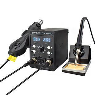Паяльная станция NEWACALOX 8786D 60Вт с термофеном 750Вт, 2хЖК