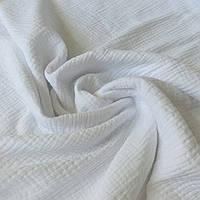 Муслин жатый белый однотонный, ш. 140 см, фото 1