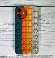 Попит чохол антистрес силіконовий pop it для телефону iPhone 12 Pro кейс для телефону з пупыркой бірюзовий