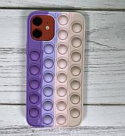 Чохол антистрес попит для телефону iPhone 12 Pro pop it case для телефону з пупыркой фіолетовий