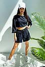 Костюм женский легкий летний шорты и топ черный, фото 2