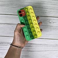 Чохол попит антистрес pop it для телефону iPhone 12 Pro силіконовий кейс для телефону з пупыркой case м'ятний