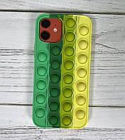 Силіконовий чохол-антистрес pop it для телефону iPhone 12 кейс для телефону з пупыркой case м'ятний