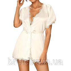 Халат женский атласный короткий молочного цвета Obsessive Prima Neve