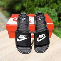 Мужские летние шлепки в стиле Nike черные массажные