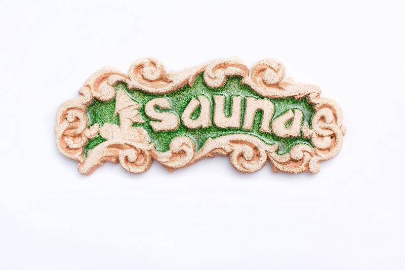"""Табличка декоративна """"Sauna"""" - """"Зелений кришталь"""""""