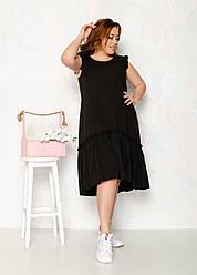 Жіноче літнє яскраве асиметричне плаття Батал