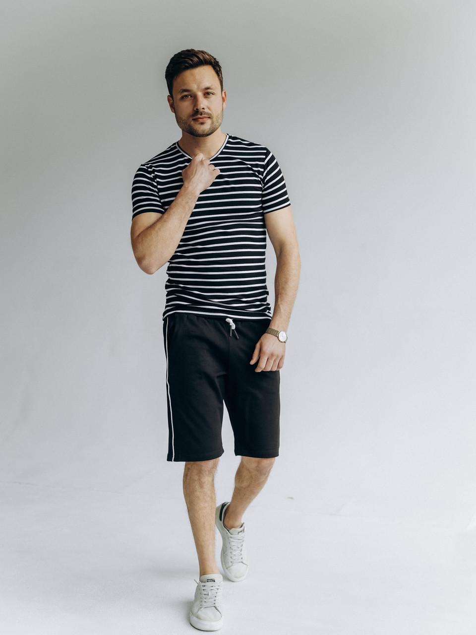 Футболка и шорты мужской костюм летний прогулочный стильный полосатый черного цвета