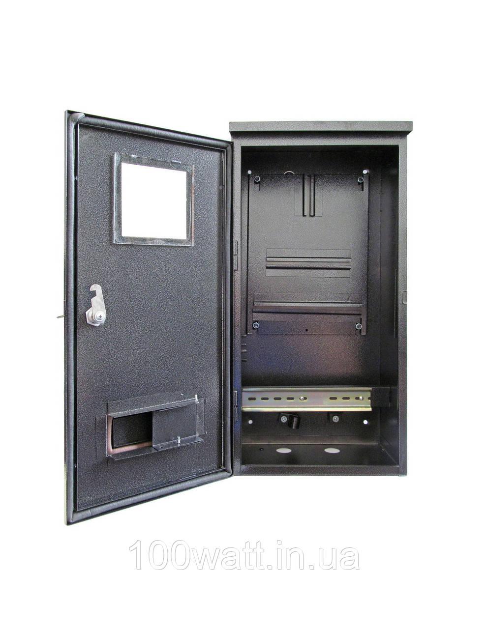 Щит металевий накладної ШМР-3Ф для 3 фазного лічильника і 6 модулів герметичний вуличний