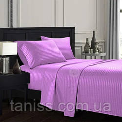 Двухспальный набор постельного белья из страйп-сатина, 100% хлопок, светло сиреневый