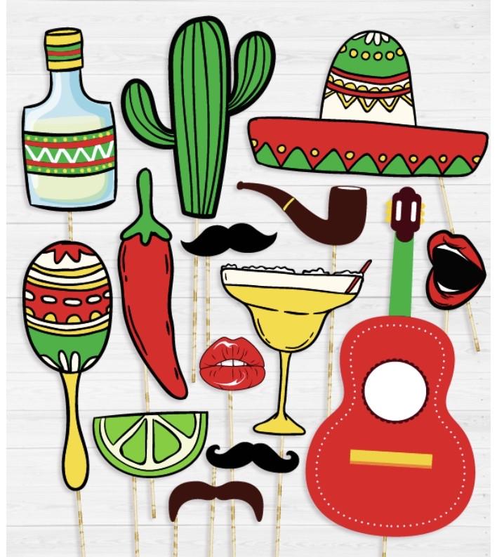"""Набор аксессуаров для фотосессии """"Мексиканская вечеринка"""" 14 аксессуаров"""