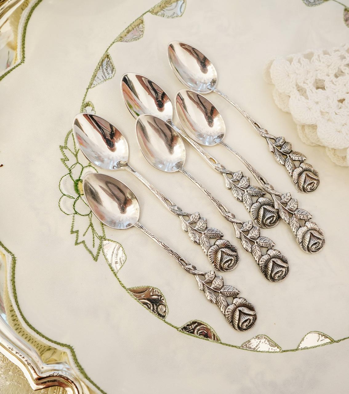 Набор посеребренных кофейных ложечек с розочкой на ручке, серебрение, Германия, ANTIKO 100