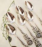 Набор посеребренных кофейных ложечек с розочкой на ручке, серебрение, Германия, ANTIKO 100, фото 3
