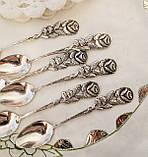 Набор посеребренных кофейных ложечек с розочкой на ручке, серебрение, Германия, ANTIKO 100, фото 4