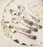 Набор посеребренных кофейных ложечек с розочкой на ручке, серебрение, Германия, ANTIKO 100, фото 5