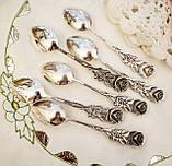 Набор посеребренных кофейных ложечек с розочкой на ручке, серебрение, Германия, ANTIKO 100, фото 6