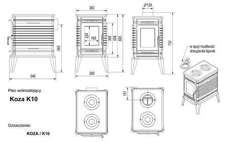 Чавунна камінна піч KRATKI KOZA K10 Ø130 подача повітря ASDP (10кВт) печі чавунні опалювальні для будинку, фото 2