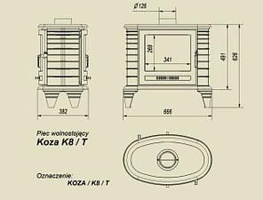 Чавунна піч-камін KRATKI KOZA K8 тунель (9 кВт) печі чавунні опалювальні для дому та дачі, фото 2