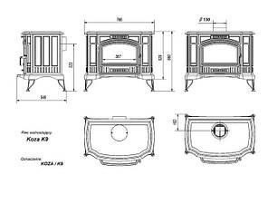 Чугунная печь-камин KRATKI KOZA K9 Ø130 подача воздуха ASDP (10 кВт) печи чугунные отопительные для дома, фото 2