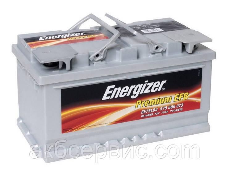 Акумулятор автомобільний Energizer 6СТ-75 Premium EFB EE75LB4