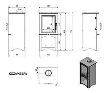 Сталева піч-камін KRATKI KOZA K5 S з нішею для дров (3-8кВт) печі стальні опалювальні для дому та дачі, фото 3