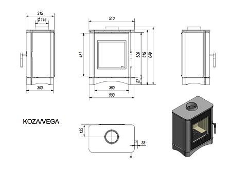 Сталева і чавунна камінна топка KRATKI KOZA VEGA 150 (6 кВт) печі чавунні опалювальні для дому та дачі, фото 2