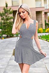 Жіноче літнє чорно-біле плаття в смужку