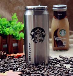 """Термос з клапаном і трубочкою """"Starbucks"""" сталевий ,500 мл"""