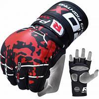 Беспалые перчатки с широким напульсником для ММА RDX черный/красный