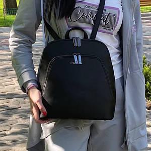 Женский черный каркасный рюкзак - сумка Smile. Кожаный (Эко кожа) Небольшой стильный, повседневный рюкзачок