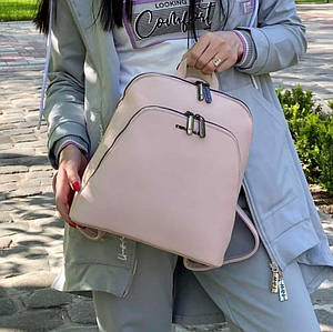 Женский пудровый каркасный рюкзак - сумка Smile. Кожаный (Эко кожа) Небольшой стильный, повседневный рюкзачок