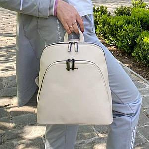 Женский бежевый каркасный рюкзак - сумка Smile. Кожаный (Эко кожа) Небольшой стильный, повседневный рюкзачок.