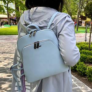 Женский голубой каркасный рюкзак - сумка Smile. Кожаный (Эко кожа) Небольшой стильный, повседневный рюкзачок.