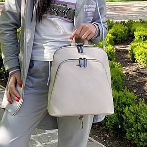 Женский кофейный каркасный рюкзак - сумка Smile. Кожаный (Эко кожа) Небольшой стильный, повседневный рюкзачок.