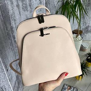 Женский пудровый каркасный рюкзак - сумка Smile. Кожаный (Эко кожа) Небольшой стильный, повседневный рюкзачок.