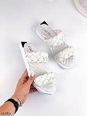 Модные,кожаные женские шлепанцы A_BENS, белые, фото 3