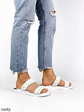 Модные,кожаные женские шлепанцы A_BENS, белые, фото 2
