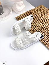 Модные,кожаные женские шлепанцы A_BENS, белые