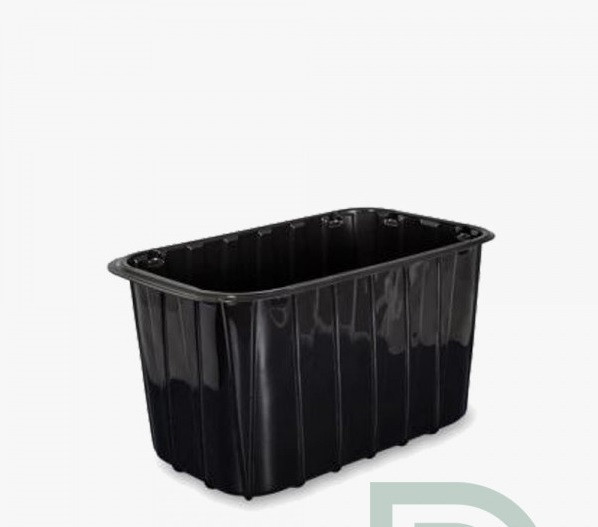 Пластиковый судок для упаковки ягод 1 кг ПЭТ черный