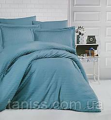Двухспальный набор постельного белья из страйп-сатина, 100% хлопок, серо-зеленый