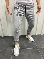 Брюки мужские серые в полоску на манжетах Свободные брючные штаны мужские серые в полоску Короткие