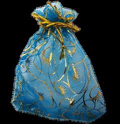 Мішечок для біжутерії 12х9 блакитний