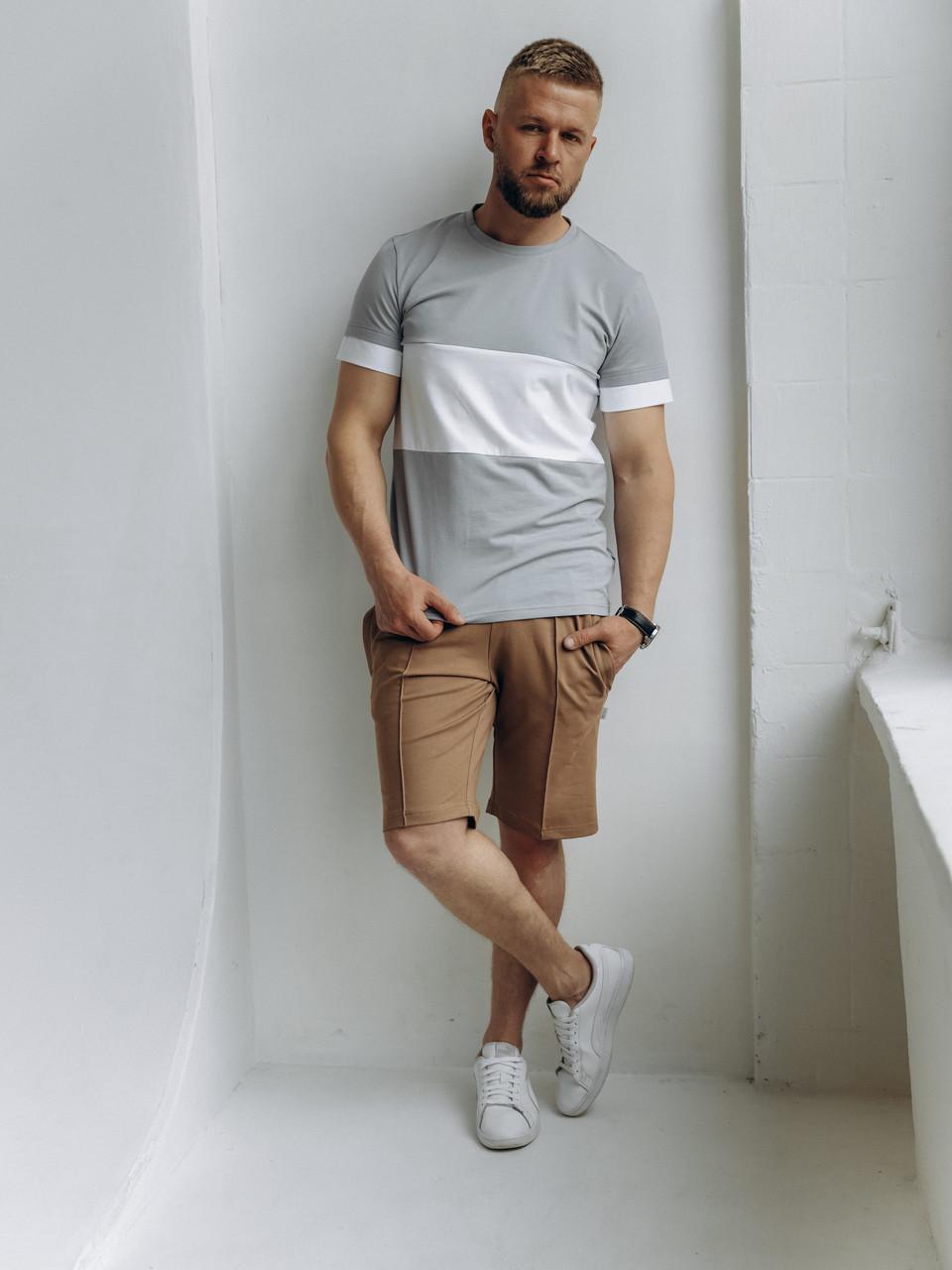 Мужской летний костюм стильный свободный прогулочный серая футболка и бежевые шорты