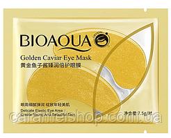 Патчі під очі зволожують і розгладжують c золотом і ікрою Bioaqua Golden Caviar Eye Mask золоті 1 пара